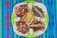 Mexican meat tacos on plate, high angle Stock Photos