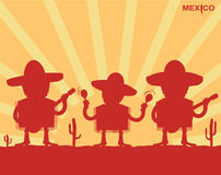 Mexican men playing instruments.Vector Stock Photography