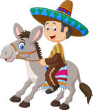 Mexican men riding a donkey isolated on white background Stock Photo