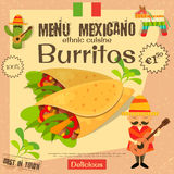 Mexican Menu. Burritos. Mexican Traditional Food. Vintage Style. Vector Illustration Royalty Free Stock Images