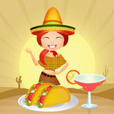Mexican menu. Illustration of Mexican girl with tacos Stock Photos
