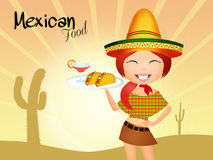 Mexican menu. Illustration of Mexican girl with tacos and margarita Stock Photography