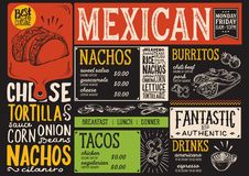 Mexican menu restaurant, food template. Mexican menu for restaurant and cafe. Design template with food hand-drawn graphic illustrations Stock Photos