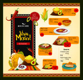 Mexican menu vector template for restaurant Royalty Free Stock Photo