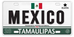 Mexican License Plate Mexico Proud Soccer Football. Mexican Mexico License Plate Futball football team soccer baja tequila automobile car stock illustration