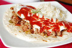Mexican minced meat tortilla Royalty Free Stock Photos