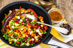 Mexican mixture of vegetables, cooked in a frying pan royalty free stock photos