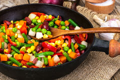 Mexican mixture of vegetables, cooked in a frying pan royalty free stock photo