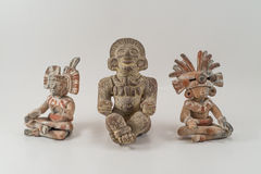 Mexican moon sun and music gods stone statue craft. On isolated Stock Image