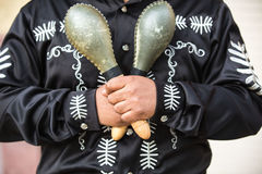 Mexican musician with maracas Royalty Free Stock Images