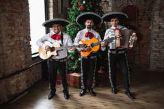 Mexican musician mariachi. Band in studio stock photography