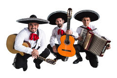 Mexican musicians mariachi band. Isolated on white background Stock Image