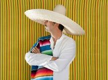 Mexican mustache man sombrero portrait shirt Stock Image