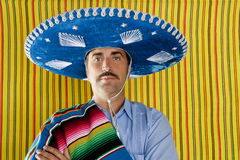 Mexican mustache man sombrero portrait shirt Stock Photos