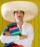 Mexican mustache man sombrero portrait shirt Stock Photo