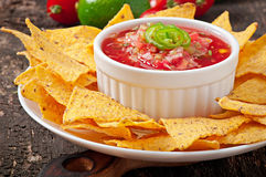 Mexican nacho chips and salsa dip Royalty Free Stock Image