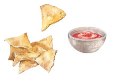 Mexican nacho chips and salsa sauce. Watercolor mexican nacho chips and red hot salsa sauce. Mexican national food Royalty Free Stock Images