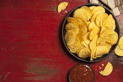 Mexican nachos chips with salsa sauce Royalty Free Stock Photos