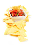 Mexican nachos corn chips with salsa Stock Images