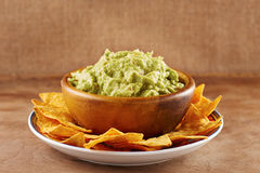 Mexican nachos with handmade guacamole sauce Stock Image