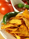 Mexican nachos with salsa sauce Stock Images