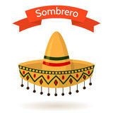 Mexican National Colorful Hat Sombrero Vector Illustration. Traditional mexican colorful hat sombrero  on white background. Red ribbon with text. Vector flat Stock Photography
