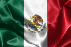 Mexican National Flag With Eagle Coat Of Arms 3D Rendering. Mexican National Flag With Eagle Coat Of Arms 3D Render Royalty Free Stock Photos