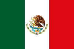 Mexican National Flag With Eagle Coat Of Arms 3D Rendering. Mexican National Flag With Eagle Coat Of Arms 3D Render Stock Images