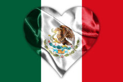 Mexican National Flag With Eagle Coat Of Arms 3D Rendering. Mexican National Flag With Eagle Coat Of Arms In Shape Of Heart 3D Rendering Royalty Free Stock Photos