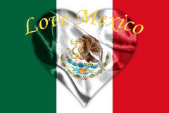 Mexican National Flag With Eagle Coat Of Arms 3D Rendering. Mexican National Flag With Eagle Coat Of Arms and Text. Love Mexico, 3D Rendering Royalty Free Stock Image