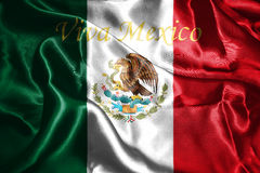 Mexican National Flag With Eagle Coat Of Arms 3D Rendering. Mexican National Flag With Eagle Coat Of Arms and Text. Viva Mexico,  meaning Live Mexico 3D Stock Photos