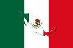 Mexican National Flag With Eagle Coat Of Arms and Mexican Map 3D. Mexican National Flag With Eagle Coat Of Arms In Shape Of Mexican Map 3D Rendering Royalty Free Stock Photos