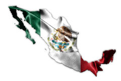 Mexican National Flag With Eagle Coat Of Arms and Mexican Map 3D. Mexican National Flag With Eagle Coat Of Arms In Shape Of Mexican Map 3D Rendering Royalty Free Stock Photo