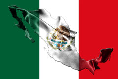 Mexican National Flag With Eagle Coat Of Arms and Mexican Map 3D. Mexican National Flag With Eagle Coat Of Arms In Shape Of Mexican Map 3D Rendering Royalty Free Stock Image
