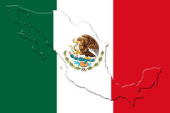 Mexican National Flag With Eagle Coat Of Arms and Mexican Map 3D. Mexican National Flag With Eagle Coat Of Arms In Shape Of Mexican Map On White Background 3D Stock Images