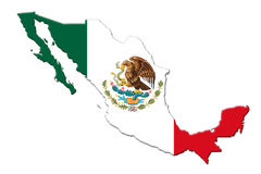 Mexican National Flag With Eagle Coat Of Arms and Mexican Map 3D. Mexican National Flag With Eagle Coat Of Arms In Shape Of Mexican Map On White Background 3D Royalty Free Stock Photos