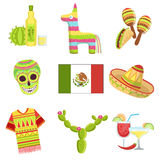 Mexican National Symbols Set Royalty Free Stock Photo