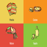 Mexican National Symbols Vector Icons Set Stock Photos