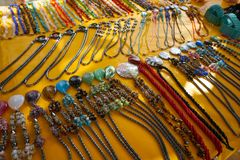 Mexican necklaces in tourist souvenir market. At Riviera Maya royalty free stock photos