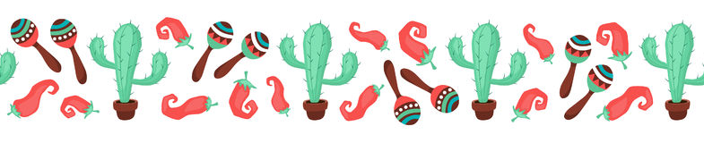 Mexican objects banner. Cinco de Mayo objects in horizontal stripe composition. Mexican culture symbols collection. Sombrero, maracas, cactus and jalapeno on