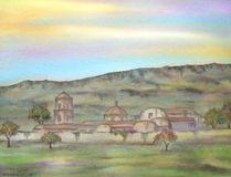 Mexican Old Hacienda. Digitally photographed image of an original watercolor (on 100% cotton & hand made paper), about the ruins of an old & abandoned hacienda Royalty Free Stock Images