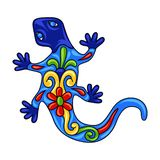 Mexican ornamental lizard. Traditional decorative object. Talavera ceramic pattern. Ethnic folk ornament royalty free illustration