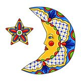 Mexican ornamental moon and star. Traditional decorative object. Talavera ceramic pattern. Ethnic folk ornament royalty free illustration