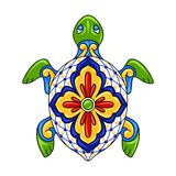 Mexican ornamental turtle. Traditional decorative object. Talavera ceramic pattern. Ethnic folk ornament stock illustration