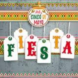 Cinco De Mayo Emblem Concrete Fiesta. Mexican ornaments with emblem, sombrero and maracas for  Cinco de Mayo Stock Photos