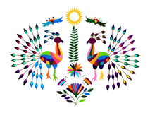 Mexican Otomi Style Bright  Pattern with Peacocks Stock Images