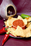 Mexican oven, chips and salsa royalty free stock image