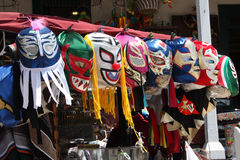 Mexican painted masks. A cart with colorful Mexican masks for sale to tourists Royalty Free Stock Photos