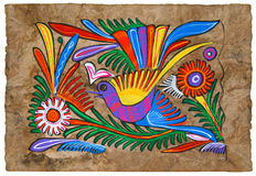 Mexican design parchment. Colibri, flowers and ornaments painted on amate paper by mexican native painter