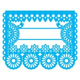 Mexican Papel Picado blank text template design - traditional vector garland pattern with floral pattern. Paper decoration inspired by traditional art from Stock Images
